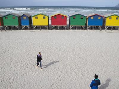 彩色的风景线 南非海滩更衣室